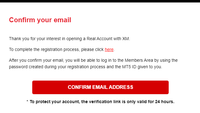 xm confirmation email