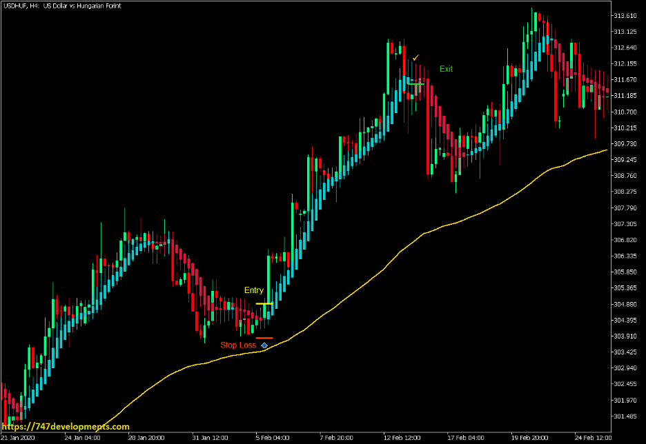 Heiken Ashi Smoothed 100 EMA Pop or Drop Strategy - MT5 2